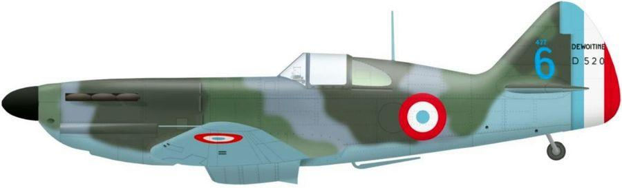 Dewoitine 520 n 422 code 6 de l escadrille ac3 en juillet 1940 a hyeres