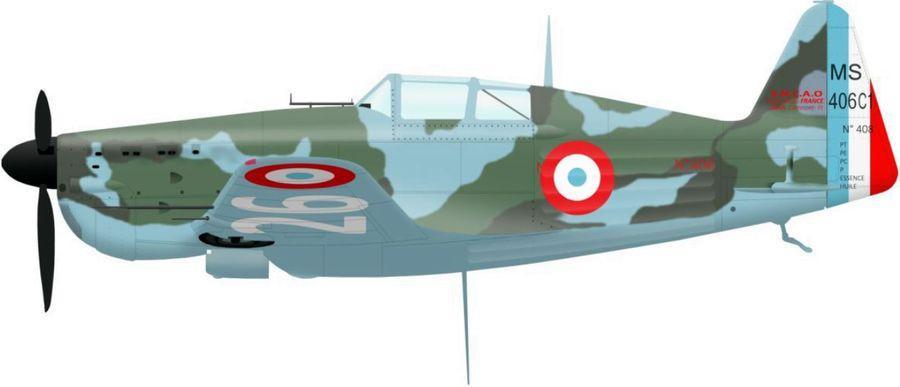 Morane 406 n 408 de l escadrille ac5 en juin 1940 sur l intrados immatriculation n 826